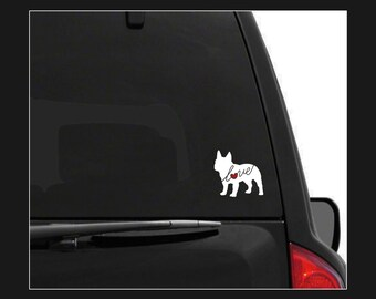 French Bulldog Love: A Car Window Vinyl Decal - Laptop Sticker - Dog Breed Decals - Dog Stickers - Cooler Decal - Gift for Dog Lover