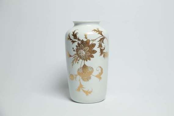 Vintage Large Glazed White Porcelain And Gilt Gold Vase With