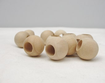 """Wooden bead, large hole bead, 3/4"""" (.75"""") 20mm wooden bead, unfinished bead, set of 12"""