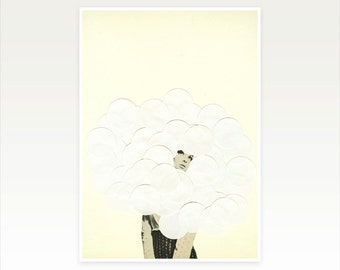 Surreal Collage Art print - Head in the Clouds