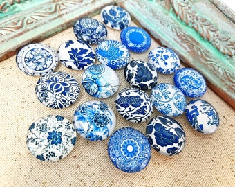 Blue white flower magnets - decorative magnets - neomydium magnets - round glass magnets #M35