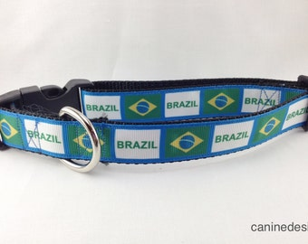 Dog Collar, Brazil Flag, Soccer, Football, 1 inch wide, adjustable, quick release, metal buckle, chain, martingale, hybrid, nylon