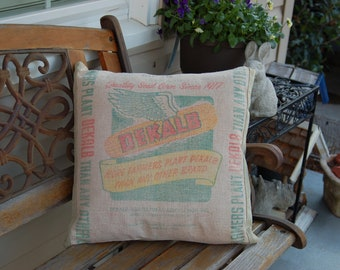 """Vintage Seed Sack Pillow Covers - Green Linen 18""""x18"""""""