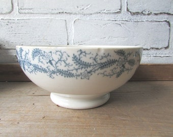 Small Transferware Bowl Footed Vintage Bowl White With Blue Pattern K T & K Knowles Taylor Knowles