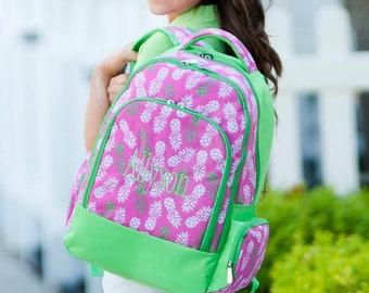 Pineapple Girls Personalized Backpack, Monogram Book Bag, Girls Book Bag, Monogram Backpack, Personalized Kids Backpack, Back to School