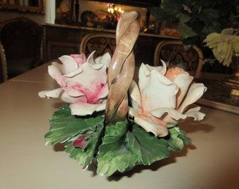 ITALY CAPIDOMONTE BASKET of Roses
