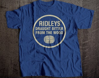 Ridley's Draught Beer Bitter From the Wood T-Shirt | Ringspun Unisex and Ladies Fit Tee | Vintage Bar and Brewery Label Clothing
