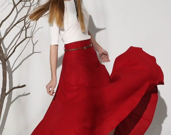 red vintage skirt, womens linen skirt, high waisted skirt, summer skirt, maxi skirt, swing skirt, fitted skirt, A line skirt (1154)