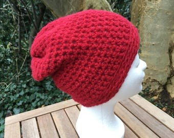Slouchy red, soft beanie, size M