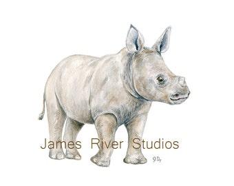 Rhino Art Rhino Painting Rhino Print Rhino Watercolor Painting Rhino Wall Decor Rhino Wall Art Rhino Kids Art Baby Rhino Baby Rhinoceros Art