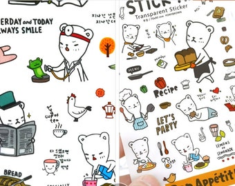 6 Sheets Cute White bear Diary Sticker Stick-A transparent planner stickers For Notebook photo album S55