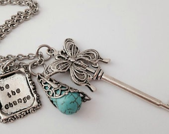 Be the Change Turquoise Butterfly Key Necklace HRM Fundraiser