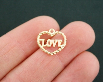 6 Love Heart Charms Gold Plated - GC723