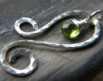 Hammered sterling silver swirl and bright grass green peridot wire wrapped necklace - handmade jewelry