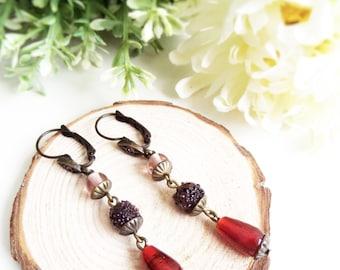 Red Ruby Earrings Long Rustic Earrings Red Drop Earrings Long Beaded Earrings Red Glass Earrings Folk Earrings Autumn Earrings Lever Back