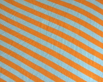 Grey and Orange Stripe Rayon Spandex Poly Blend Fabric by the yard BTY