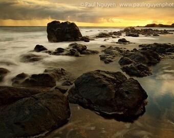 Hawaii Beach Sunrise photograph print, 4x6 print matted on white 5x7 mat.  Mo'omomi Beach, Molokai , yellow sunrise, clouds, ocean, rocks
