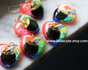 St Patricks Day Necklace Cute Rainbow Jewelry, St. Patrick's, Pot of Gold Rainbow Heart Shaped Pendant Handcrafted Resin Glitter by isewcute