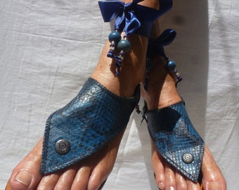 Hippy Chic Boho Sole Pakashoes with Original Design Blue SnakeLeather Cover Switchable  Just For You Free Shipping (2choices)
