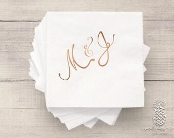 Bride and Groom Wedding Napkins   Personalized Napkin   Monogram Napkins   Bridal Napkins   Custom Foil Napkins   Metallic Foil Napkins