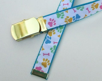 Paw Prints Belt for Kids, Cute Childrens Belts for Children, Cute Girls Belts, School Uniform Belts, School Belts, Belt with Dog Prints