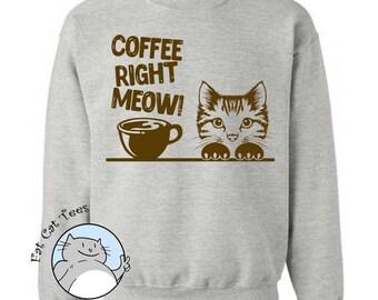 Coffee Right Meow Sweatshirt Funny Cat Sweater Funny Coffee Gifts Puns Mens Sweater Womens Cat Sweatshirt Gifts For Coffee Lovers