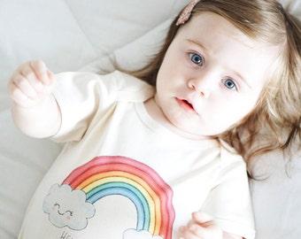 Baby Girl, Organic Cotton Bodysuit, Teething Ring, White Bodysuit, Rainbow, Baby Girl Clothes, Baby Girl Gift Set