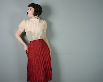 "70s PLEATED skirt by COPPERNOB - floral textured dark brick red romantic midi skirt - 24"" / xs"