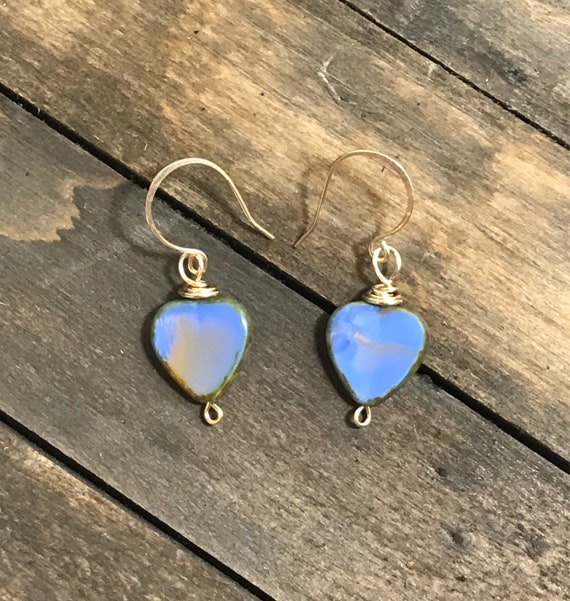 14k gold filled czech glass heart earrings-purple/violet
