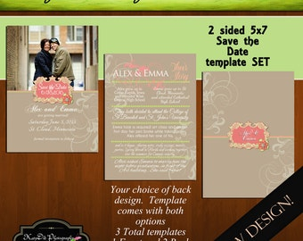INSTANT Download Save the Date Template/PSD file PS I Love You Melon and Lime 5x7