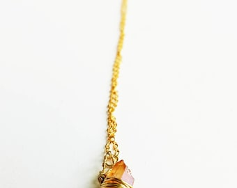 Raw Crystal Quartz Necklace - Crystal Necklace - Gold Chain Necklace - Heart Chakra Necklace - Bohemian Necklace