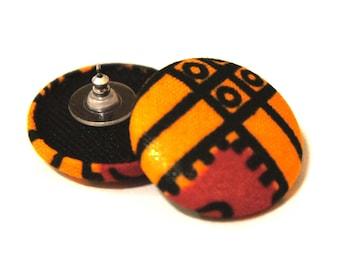 Ankara African Print Stud Earrings – Orange/Red
