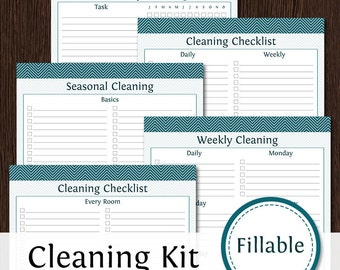 Cleaning Checklist Kit - Fillable - 5 documents - Monthly, Weekly, Seasonal Cleaning - Printable PDF - Instant Download - Cleaning Checklist