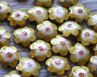 SALE Yellow Sakura - Floral Cloisonne beads (4)