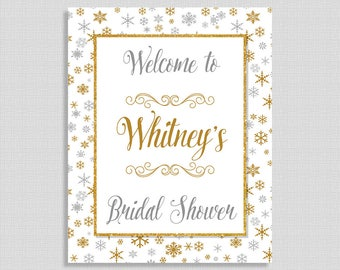 Winter Bridal Shower Welcome Sign, Silver & Gold Snowflake Sign, Personalized Wedding Shower Sign, DIY PRINTABLE