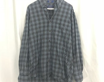Men's Pendleton Blue And Black Checked Flannel Button Down Shirt M