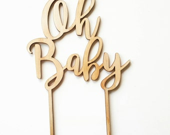 MDF Bamboo Oh Baby Cake Topper. Laser cut wooden cake topper perfect for a baby shower. Raw wood party accessories.