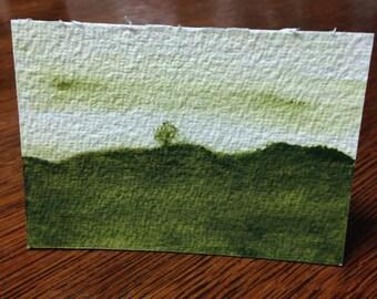 Green Isolation 1 - Original Watercolor ACEO