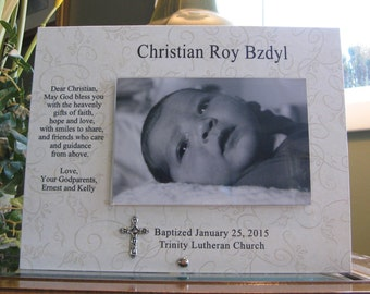 Baptism Gift for Godson, Baptism Frame for Godson, Baptism Picture Frame for Godson, Christening Gift for Godson, 4 x 6 photo, metal cross