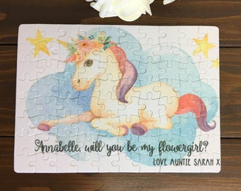 Will You Be My Flower Girl| Flower Girl Gift |Flower Girl Proposal |Flower Girl Jigsaw |Wedding Activity Pack |Unicorn Jigsaw |Unicorn Party
