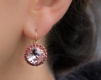 Rose Pink Swarovski Earrings, Pink Cushion Earrings, Pink Crystal Earrings, Bridesmaid Earrings, Georgian Paste Earrings