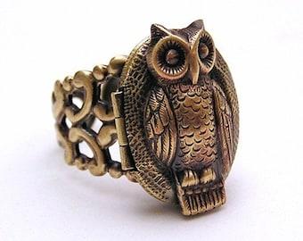 OWL locket Ring, ADORABLE