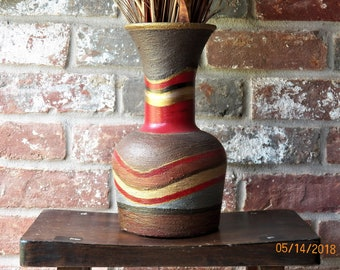 Hand Painted Repurposed Native American Style Textured Striped Vase  With Arrangement Home and Living NeglectedGoodz