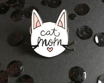 Cat Mom Hard Enamel Pin | Hard Enamel Pin | Cat pin | Cats | Pets | enamel pin | pin | lapel pin | cat enamel pin | crazy cat lady