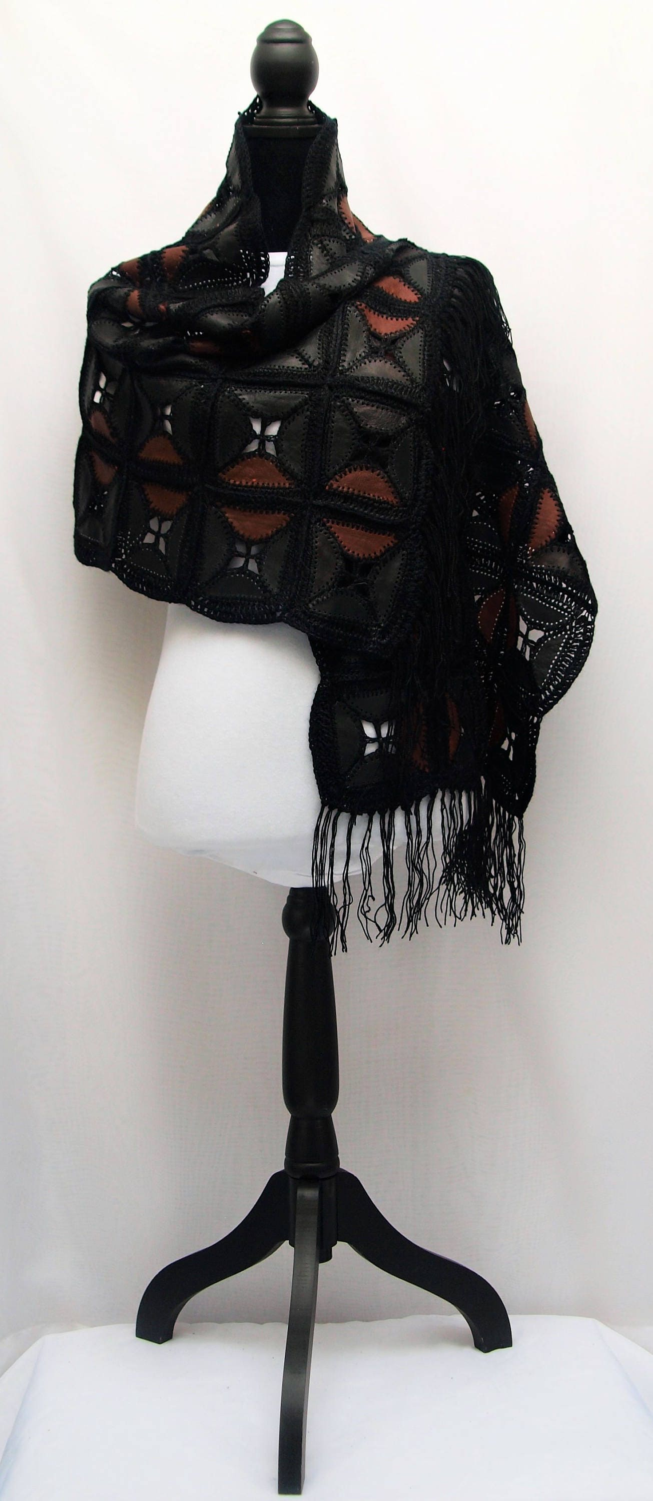 Leather Shawl Wrap Scarf Head Wrap Couch Throw Wall Hang
