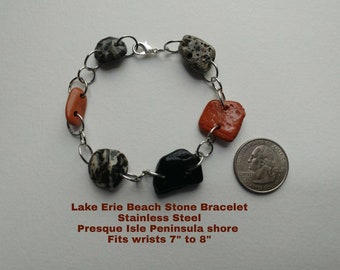 "Lake Erie Glossy Beach Stone Steel Link Bracelet, fits wrist 7"" to 8"", Presque Isle Peninsula shore, Unique Jewelry, Earth Jewelry"