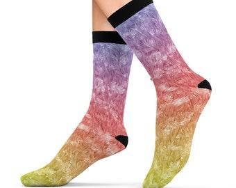 Rainbow Fuzzy Furry Fur Design Printed Sublimation Socks