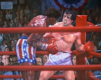Sylvester Stallone Rocky Balboa Rocky Apollo art print 12x16 signed and dated Bill Pruitt