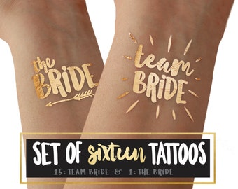 "Set of 16 ""TEAM BRIDE"" metallic gold foil temporary tattoos // stagette party // bachelorette party // girls night out"
