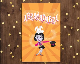 Have a Magical Birthday Greeting Card  |  Orange and Pink Lady Magician
